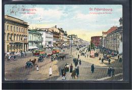 Sankt- Peterburg  St Petersbourg La Perspective Du Newsky Tram 1909 OLD POSTCARD 2 Scans - Rusia