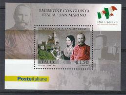 Italia Repubblica 2011 Foglietto N 79 Giuseppe Garibaldi Emissione Congiunta San Marino - 6. 1946-.. Repubblica