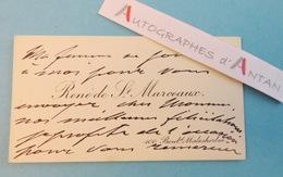 CDV René De SAINT MARCEAUX Sculpteur & Médailleur - Né à Reims - Carte De Visite Autographe - Autographes