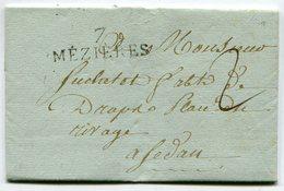 ARDENNES De CHARLEVILLE LAC Du 14/09/1814 Linéaire 39x12 De MEZIERES +taxe De 2 Pour SEDAN - Storia Postale