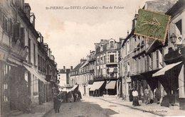 CPA, Saint Pierre Sur Dives, Rue De Falaise, Animée, Commerces - Other Municipalities