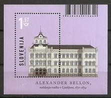 SLOVENIA ,SLOWENIEN 2019,ARCHITECTURE IN SLOVENIA,GYMNASIUM IN LJUBLJANA,BLOCK,,MNH - Slovénie