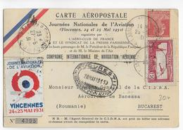 1931 - POSTE AERIENNE - CARTE AEROPOSTALE Des JOURNEES De L'AVIATION De VINCENNES => ROUMANIE => MAROC - Airmail