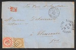LSC - Colonies GUADELOUPE  1861 AIGLE 10c + 40c  ( Yv. 3 & 5 ) Sur Lettre De POINTE A PITRE Pour FLEURANCE ,FRANCE. - Aigle Impérial