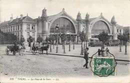 Cpa 37 Tours , Tramway Et Calèches Place De La Gare , écrite 1913 - Tours