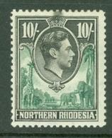 Northern Rhodesia: 1938/52   KGVI     SG44   10/-    MH - Rhodésie Du Nord (...-1963)