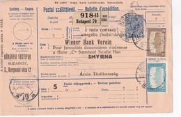 HONGRIE 1917    ENTIER POSTAL/GANZSACHE/POSTAL STATIONERY COLIS POSTAL DU BUDAPEST AVEC TIMBRES ARRIVEE SMYRNE - 1858-1921 Empire Ottoman