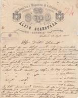 Italie Facture Lettre Illustrée 26/7/1885 Alfio SCANDURRA Magazzino Di Calzature CATANIA - Froissée - Italie
