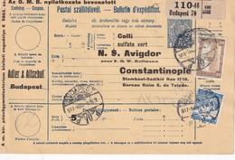 HONGRIE 1917    ENTIER POSTAL/GANZSACHE/POSTAL STATIONERY COLIS POSTAL DU BUDAPEST AVEC TIMBRES ARRIVEE CONSTANTINOPLE - 1858-1921 Empire Ottoman