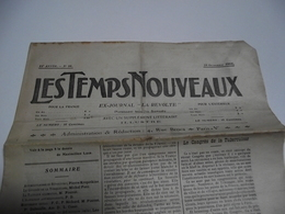 Les TEMPS NOUVEAUX , 28 Octobre 1905, Ex  Journal  La Révolte - Informations Générales