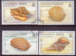 ASCENSION 1989 SG #506-09 Compl.set Used Sea Shell - Ascension (Ile De L')