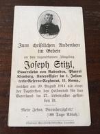 Sterbebild Wk1 Ww1 Bidprentje Avis Décès Deathcard RIR1 BISPING 20. August 1914 Aus Rabenden Kienberg - 1914-18