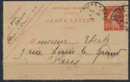 Frankreich Ganzsache Kartenbrief K 33 B 10c Rot 1907  - Entiers Postaux