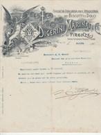 Italie Facture Lettre Illustrée 21/7/1908 DIGERINI MARINAI Biscotti E Dolci Confetti Cioccolato FIRENZE - Italie