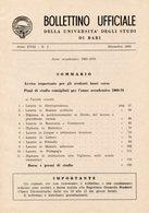 Bari - BOLLETTINO UFFICIALE UNIVERSITÀ Anno XVIII N. 2, Dicembre 1969, Anno Accademico 1969-70 - Vecchi Documenti