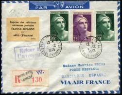 FRANCE - Reprise Des Relations Aériennes Postale FRANCE/ESPAGNE Par Avion AIR FRANCE 2/12/49 - TB - Poste Aérienne
