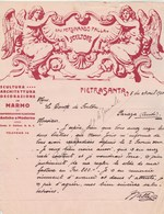 Italie Facture Lettre Illustrée 8/4/1920 Cav  Fernandino Palla Scultore PIETRASANTA à Comte De Forton Paraza France - Italie