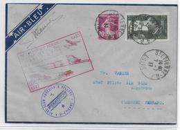 1937 - POSTE AERIENNE - ENVELOPPE AIR BLEU Avec SIGNATURE Du PILOTE VANIER De ST ETIENNE (LOIRE) => CLERMONT-FERRAND - Luftpost