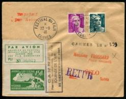 FRANCE - FESTIVAL DU FILM/CANNES 22/9/46 - Vignette Et C.S Par Avion Pour OSLO - TB - Poste Aérienne