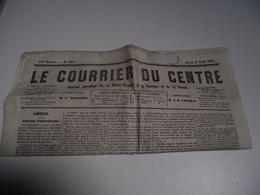 Le Courrier Du CENTRE,  8 AOÛT 1861, Journal Quotidien, Hte Vienne, Corrèze, Creuse - 1850 - 1899