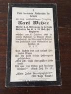 Sterbebild Wk1 Ww1 Bidprentje Avis Décès Deathcard RIR13 VINCY St. Laurent Blangy 6. Oktober 1914 Aus Irlbach - 1914-18