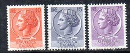 W2899 - REPUBBLICA 1955 SIRACUSANA , I 3 Valori Per Macchinetta Stelle IV Tipo ***  MNH - 6. 1946-.. Repubblica