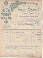 Italie Facture Illustrée 4/11/1914 Francesco CINZANO Vermouth E Vini TURIN Entrepôt De Marseille - Réparée Au Verso - Italie