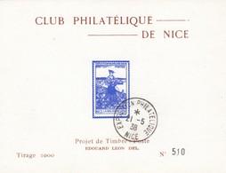 BLOC CLUB PHILATELIQUE DE NICE PROJET DE TIMBRE POSTE EDOUARD LEON DEL  21 MAI 1938 - Ohne Zuordnung