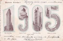 Carte 1905 Souvenir Bonne Année New York Multivues ,flatiron Building,statue,grant's Tomb,park Row Building - New York City