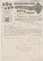 Italie Facture Illustrée 6/3/1917 MARTINI & ROSSI Succ De Martini Sola Vermouth Liqueurs TURIN - Timbre Fiscal - Italie