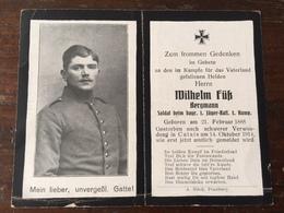 Sterbebild Wk1 Ww1 Bidprentje Avis Décès Deathcard 1. Jäger Bataillon CALAIS 14. Oktober 1914 Bergmann - 1914-18