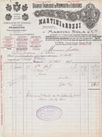 Italie Facture Illustrée 25/8/1925 MARTINI & ROSSI Succ De Martini Sola Vermouth Liqueurs TURIN - Italie