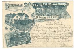BASEL BIERHALLE St CLARA Von Oscar Türke LÖWENBRÄU 1896 Zugstempel KONSTANZ-OFFENBURG - BS Bâle-Ville