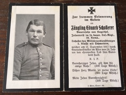 Sterbebild Wk1 Ww1 Bidprentje Avis Décès Deathcard IR24 NOYERS PONT MAUGIS Block B Grab 347 11. September 1917 Kagerhof - 1914-18