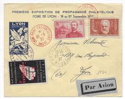 1937 - ENVELOPPE De LYON FOIRE D'ECHANTILLONS Avec VIGNETTE RADIO - CINE - PHOTO  + CACHET BRON AEROPORT - Postmark Collection (Covers)