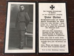 Sterbebild Wk1 Ww1 Bidprentje Avis Décès Deathcard IR3 Aus Teising Burgkirchen Am Wald 5. November 1917 - 1914-18