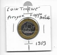 Variété 10 Francs Genie 1989 Coin Tourné Presque Frappe Médaille - K. 10 Francos