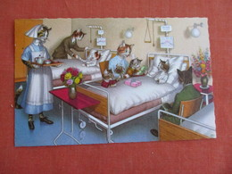 Dressed Cats-In Bed With A Nurse    Ref 3139 - Cats