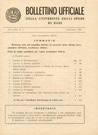Bari - BOLLETTINO UFFICIALE UNIVERSITÀ Anno XIII  N. 2, Dicembre 1964, Anno Accademico 1964-65 - Vecchi Documenti