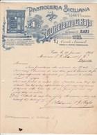 Italie Facture Lettre Illustrée 29/1/1905 G ORTOLANI & G BAJO Pasticceria Siciliana Vini Liquori Cassate E Cannuoli BARI - Italie