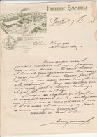Italie Facture Lettre Illustrée 7/8/1908 Frédéric ZIMMERLI FLORENCE De Paris - Italie