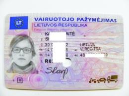 Driver's Driving License Plastic Card From Lithuania EU Permis De Conduire 2008 With Hole - Documents Historiques