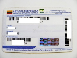 Health Insurance Card Plastic From Lithuania Medicine - Documents Historiques