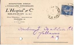 Golfe-juan Carte Représentant Manufacture D'émaux Céramiques L'hospied & Cie à Mr J Massier à Vallauris 1932 - France