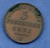 Prusse -  3 Pfenninge 1871 C -  Km # 482  --  état  TTB - [ 1] …-1871 : Duitse Staten