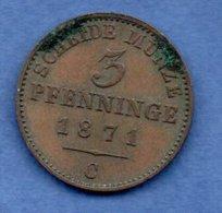 Prusse -  3 Pfenninge 1871 C -  Km # 482  --  état  TTB - [ 1] …-1871 : Stati Tedeschi