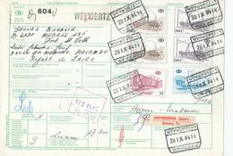 424/28 - CANTONS DE L'EST - Bulletin De Colis Gare De WEYWERTZ  1984 Vers Le ZAIRE - TB Affranchissement 1.422 FB - Chemins De Fer