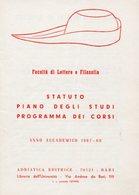 Bari - FACOLTÀ LETTERE E FILOSOFIA, STATUTO, PIANO STUDI, PROGRAMMA CORSI Anno Accademico 1967-68, Adriatica Editrice - Vecchi Documenti