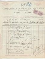 Italie Facture 20/4/1890 Compagnia Di Venezia  Vetri E Musaici MURANO  - Timbres Fiscaux - Italia