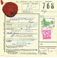 425/28 - Bulletin De Colis ANDENNE 1962 Vers LIEGE - Colis ASSURE 1.000 F Avec TP Baudouin Lunettes 6 F - Affranch.MIXTE - Chemins De Fer